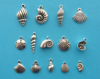 The Shell Charms Collection -  14 different antique silver tone  charms