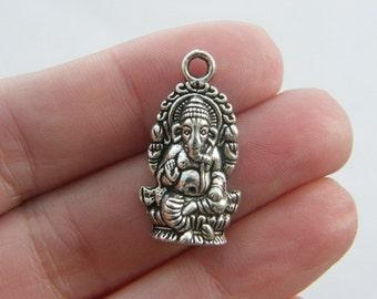 6 Elephant Ganesha pendants antique silver tone R35