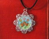 Pendant - Original - Watercolor- Art - Handmade - Necklace - Flowers - Flower pots