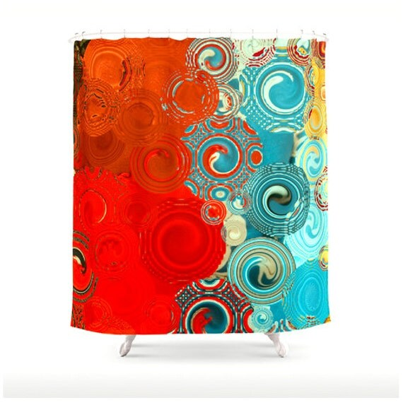 Items Similar To Turquoise And Red Swirls Shower Curtain Washable Polyester Fabric Bold