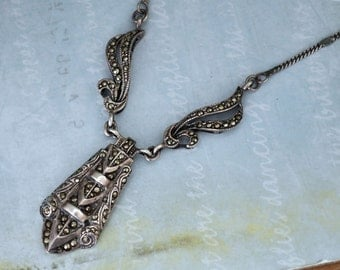 Vintage Find, Art Deco style sterling silver necklace with marcasites
