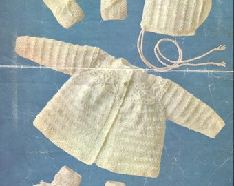 BABY KNITTING PATTERN - Matinee coat, Bonnet, Mitts and Booties/Bootees 2 sizes 0 to 5 mos and 6 to 12 mos
