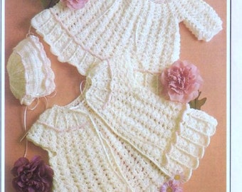 Crochet Pattern - Baby Dress and Sweater/Jacket and Bonnet Bebe - 3 to 12 months