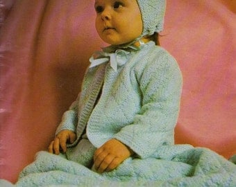 Baby Knitting PATTERN - Bluebell Baby Set -Jacket, Cap/Bonnet and Blanket/afghan
