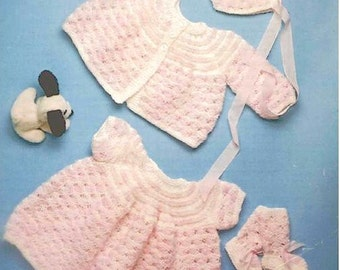 Baby knitting pattern PDF Matinee jacket,dress, bonnet and booties/bootees - 18 in chest