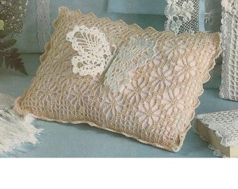 LOW PRICE - Crochet Pattern - Butterfly Pillow Cushion - Bridal Baby heirloom