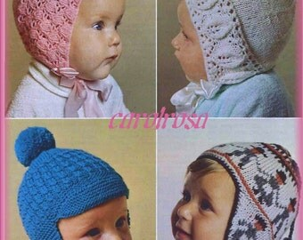 Baby KNITTING PATTERN Hats, bonnets, Helmet, Beanie, Cap - 9 to 15 Months Baby Bebe Child