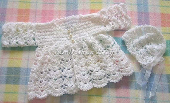 Crochet Baby Coat Pattern : Baby CROCHET PATTERN Scallop Matinee Jacket and Bonnet 16