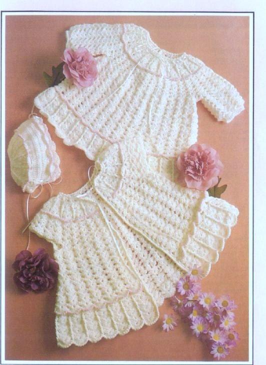 Crochet Baby Dress And Bonnet Pattern : Crochet Pattern Baby Dress and Sweater/Jacket and Bonnet