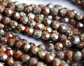 4mm Fire Polished Beads - Picasso - Satin Chestnut Brown Picasso - Faceted Rounds - Czech Glass Beads - Bead Soup Beads