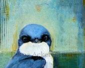 Art acrylic painting mixed media  bird art tree swallow home decor blue orange teal