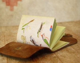 Leather Travel Journal, Little Feather, Mini Hand Bound Note Book