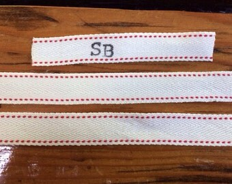 Red Accented Personalized Fabric Label