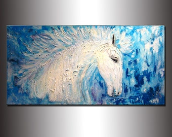 Original Textured Modern Abstract Figurative Impressionism Painting, Contemporary White Horse Painting By Henry Parsinia Large 48x24
