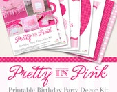 Pretty in Pink birthday party printable decor kit - Over 45 pages of gorgeous personalized printables