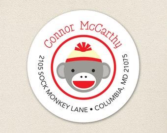 Sock Monkey Address Labels - Sheet of 24