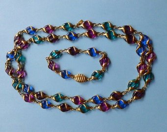 STORE CLOSING SALE Fancy Vintage Signed Swarovski Multi Color Crystal Necklace & Bracelet Set