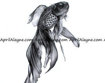 Fish- print by April Alayne -black and white