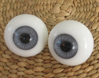 1 Pair 22mm Kais German Glass Doll Eyes  Grayish Blue
