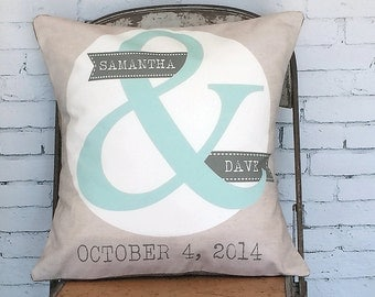Personalized Wedding Gift Cotton Anniversary Ampersand pillow cover