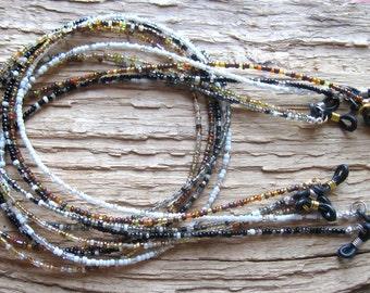 CHOOSE: Black, Brown, Gold, Silver, White .. Beaded Eyeglass Chain Holder