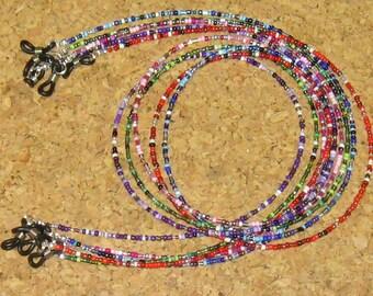 CHOOSE: Blue, Green, Pink, Purple, Red .. Beaded Eyeglass Chain Holder