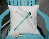 "DRAGONFLY 20"" pillow ships tomorrow painted insect helicopter outdoor wildlife garden gardening Crabby Chris Original patio deck bench porch"