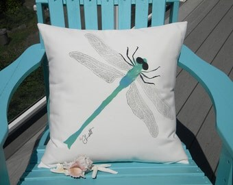 "DRAGONFLY 20"" pillow painted insect dragon fly helicopter outdoor wildlife garden gardening Crabby Chris Original patio deck bench porch"