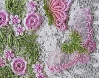 Venise Lace Pink Flower Butterfly Hand Dyed Venise Crazy Quilt Embellishment Applique
