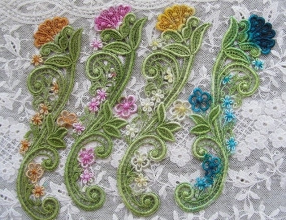Teal Yellow Pink Hand Dyed Venise Lace Flower Spray Applique Motif