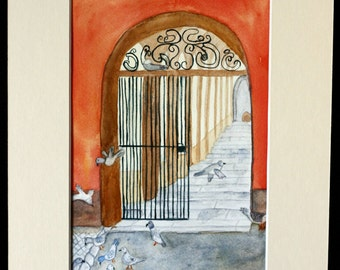 Gated tunnel original watercolor, oranges and browns, pigeons, Germany, stones, archway, orange wall, grays
