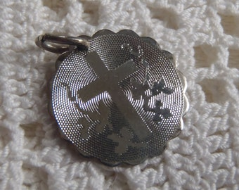 Vintage Charm Sterling Cross Disc