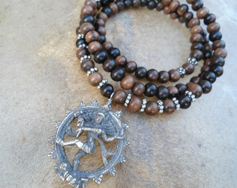 Mala Necklace  Dancing Nataraja Dancing Shiva Goddess Necklace Mala Beads Yoga Necklace Hindu Goddess Yoga Jewelry Mens Yoga Jewelry Shiva