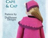 "Nordic Winter Cape & Cap Sewing Pattern for American Girl 18"" Dolls Dollhouse Designs DIGITAL DOWNLOAD DIY pdf hat"