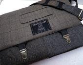 "Mens 15"" laptop Messenger Bag , 15""  Macbook Pro Laptop Sleeve, tote bag, Plaid Wool, Recycled Suit Coat"