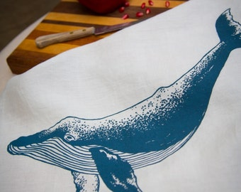 Tea Towel - Organic Linen Kitchen Towel - Hand Screen Printed with Whale Design in Slate Blue - Dish Towel