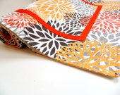 Table runner, 67 long table linen, bold flowers, orange yellow grey, contemporary, Autumn home, table centerpiece, modern table runner