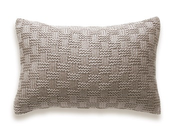 Basket Weave Knit Pillow Cover In Taupe Beige 12 x 18 inch Textured Wool Natural Linen