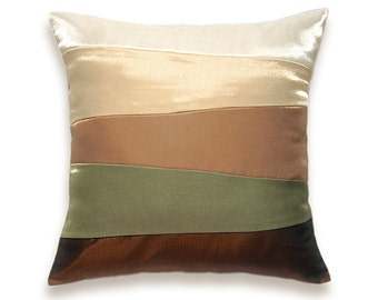 Cream Beige Sage Green Ochre Pillow Cover 16 in SIENNA DESIGN