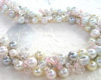 Fairy Tale Wedding Pearl Crystal Wedding Necklace/ Soft Pink, Ivory, White, Silver Gray, Sparkling Crystals, Hand Knit, Sereba Designs