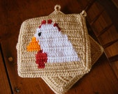 Chicken Potholders - Light Brown Crochet Hen Potholders, Pot Holders, Trivet Set of Two - Farm Animal - Rustic, Country Kitchen