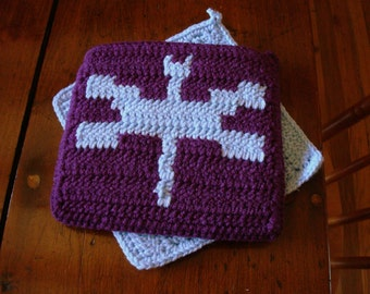 Dark Purple and Light Blue Dragonfly Potholders - Crochet Potholders - Pot Holders - Hot Pads, Light Blue, Purple Kitchen Home MADE TO ORDER