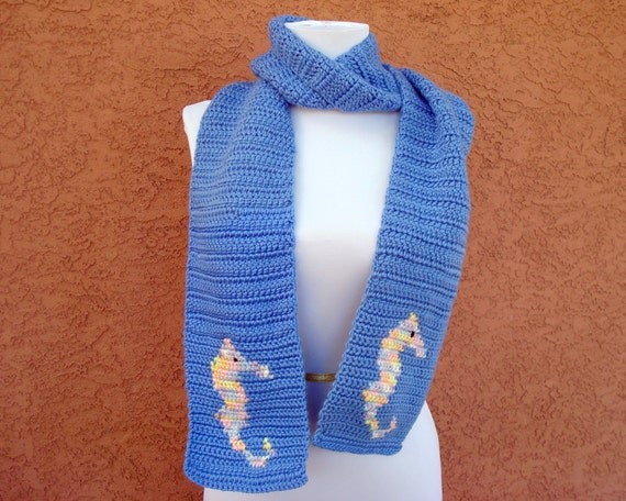 MADE TO ORDER Seahorse Scarf, Blue Scarf, Nautical Scarf for Men or Women, Crochet Scarf, Hoooked Scarves