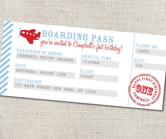 Items Similar To Airplane Birthday Invitation: Items Similar To Airplane Boarding Pass, Airplane Birthday