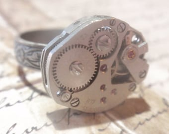 Steampunk Ring Clockwork Mechanique OX Silver  Adjustable SIZE 6.5 - 10  Up Cycled repurposed ring CR 7