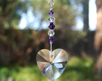 Purple Amethyst Swarovski Crystal Heart Ceiling Light Pull, Fan Chain Pull Ornament, Pull Cord Decoration
