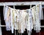 Wedding Garland - Decor - Ribbon Garland - Lace, Ribbon and Twine - Decoration - French Market (GRLD)