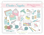 Crafty Creative Supplies CLIP ART SET for personal and commercial use art supplies, happy mail, crochet, knitting
