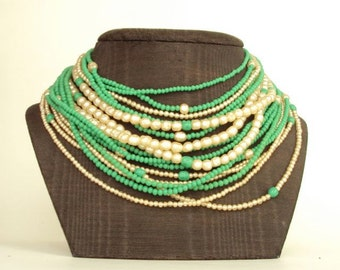 Necklace Peking Green Glass & Pearls Multi Strand Vintage