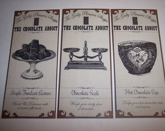 The Guilty Pleasures Shoppe Chocolate Addict Steampunk  Apothecary Labels Set of 6